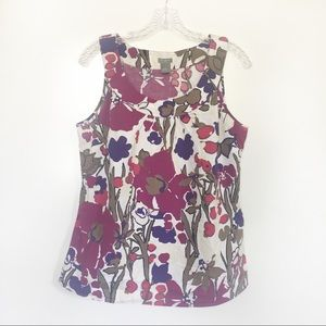 Ann Taylor Factory tank floral pink scoop neck